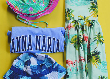 Anna Maria shirt tropical dress and hats