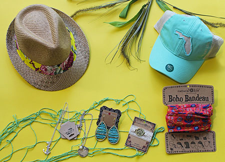 beach hats and Boho Bandeau and ear rings