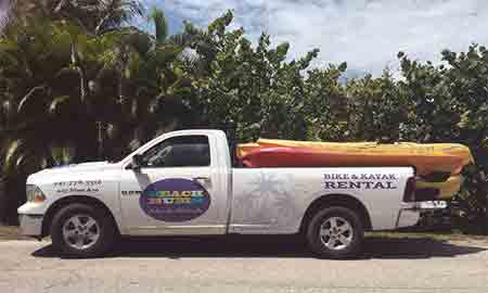 Beach Bums Bike & Kayak delivery truck
